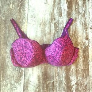 CACIQUE 44DD DAMASK VINTAGE DESIGN PINK PURPLE BRA